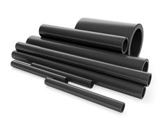 3d illustration: a group of plastic pipes Stock Illustration