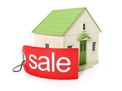3d illustration, purchase of real estate. sticker with the sale of real estat Stock Illustration