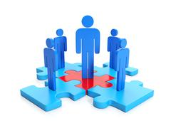 3d illustration, business cooperation. teamwork - stock illustration