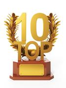 3d illustration: sports awards. cup in the form of branches olympic top 10 Stock Illustration