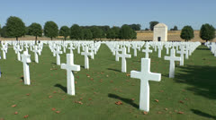 The World War I Somme American Cemetery & Memorial, Bony, France. Stock Footage