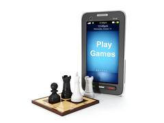 3d illustration: play mobile games. buy sell mobile games Stock Illustration