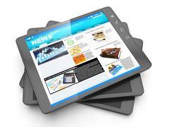 Uutiset internetistä, Tablet PC ja sen tuoreena sivun navostey Piirros