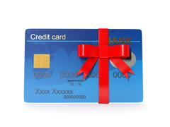 3d illustration: credit card as a gift. - stock illustration