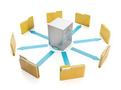 3d illustration, document storage. storage boxes and folders to group round - stock illustration