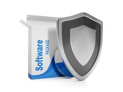 3d illustration: software. intellectual property protection, licensed softwar - stock illustration