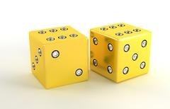 Two golden polished dies with diamonds Stock Illustration