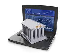 Stock Illustration of exchange trades. the laptop with the results of stock trading and bank buildi