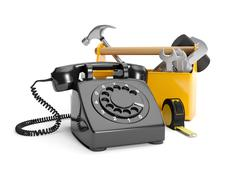 3d illustration: calling plumbing repair service order. phone, wrench on a wh - stock illustration