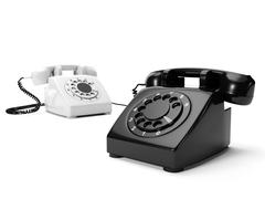 3? illustration: two phones the black and white are connected a wire Stock Illustration
