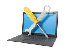 3d illustration: computer repair, laptop black on a white background. tehpod - stock illustration