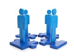 Stock Illustration of 3d illustration: business partnership. search for the head of