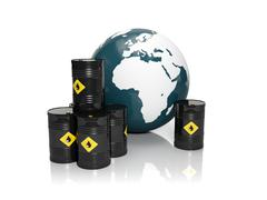 3d illustration: oil production in large quantities: barrels of oil and a mod - stock illustration