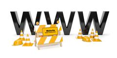 3d illustration: repair of the site, creating web sites, reconstruction. Stock Illustration