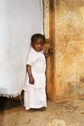 Cute but sad little african girl Stock Photos