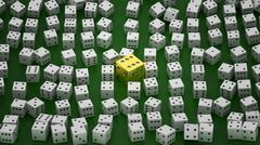 Golden die among common ones Stock Illustration