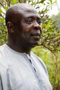 Profile of mature black african man Stock Photos