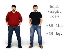 Stock Photo of before and after weight loss