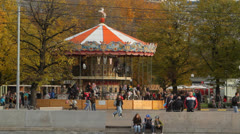 Parks and green areas of the city of Moscow. Children's Carousel in Gorky Park Stock Footage