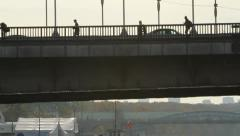 Rhythm of the big city.People walking, standing on the Crimean bridge in Moscow Stock Footage