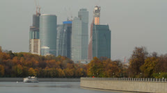 Moscow city in motion .Modern architecture in Moscow. View from the Moscow river Stock Footage