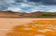 Namafjall, a geothermal area with sulfur fields in iceland Stock Photos
