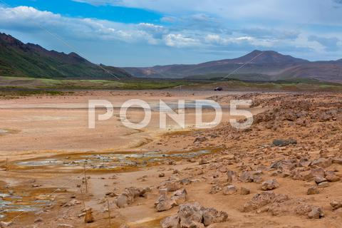 Stock photo of namafjall, a geothermal area with sulfur fields in iceland