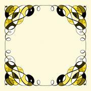 Golden swirl corners - stock illustration