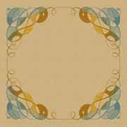 Blue and brown swirl corners - stock illustration