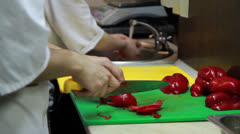 Stock Video Footage of Slicing Red Pepper Close-up