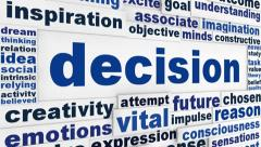 Decision word clouds message Stock Footage