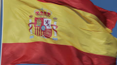 Close-up of waving Spanish flag Stock Footage
