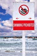 swimming prohibited - stock illustration
