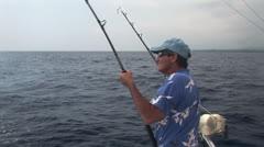 Fisherman in Training near the Island of Hawaii Stock Footage