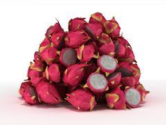 Pile or heap of dragon fruit over white Stock Photos