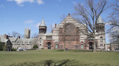 Pan across Alexander Hall, Princeton - stock footage