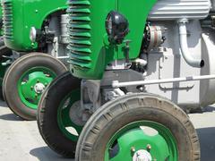 Green vintage tractors detail Stock Photos