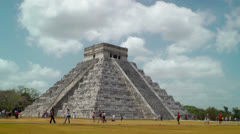 Mayan Ruins of Kukulkan Pyramid at Chichen Itza in Mexico Stock Footage