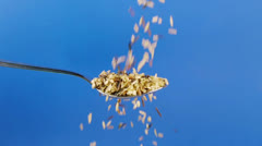 Wild Rice Dropped On Spoon Stock Footage