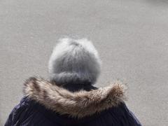 gray hair with fur collar - stock photo