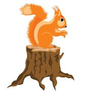squirrel sits on hemp - stock illustration
