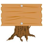 wooden nameplate on hemp - stock illustration