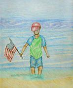 Boy holiday flag Stock Illustration