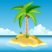 Desert island in ocean Stock Illustration