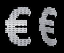 euro symbol assembled of diamonds - stock illustration