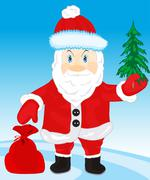festive santa with bag gift - stock illustration