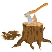 axe and pricked firewood - stock illustration