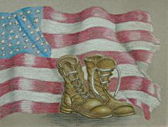 Boots and flag Stock Illustration