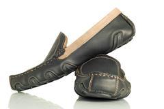 modern black mens shoes moccasins - stock photo