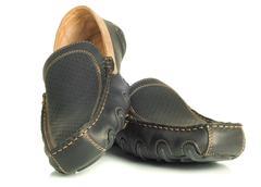 modern footwear black mens shoes moccasins - stock photo